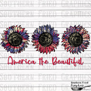 Tie Dye America the Beautiful Sunflower V1 Digital Graphic