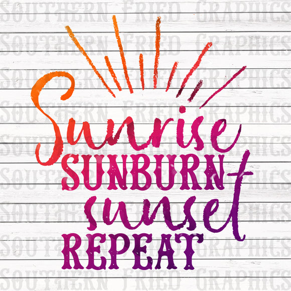 Sunrise Sunburn Sunset Repeat Digital Graphic