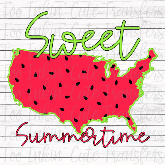 Sweet Summertime Watermelon USA Sublimation Transfer