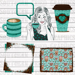 Teal Glitter Coffee Digital Graphic Element Bundle