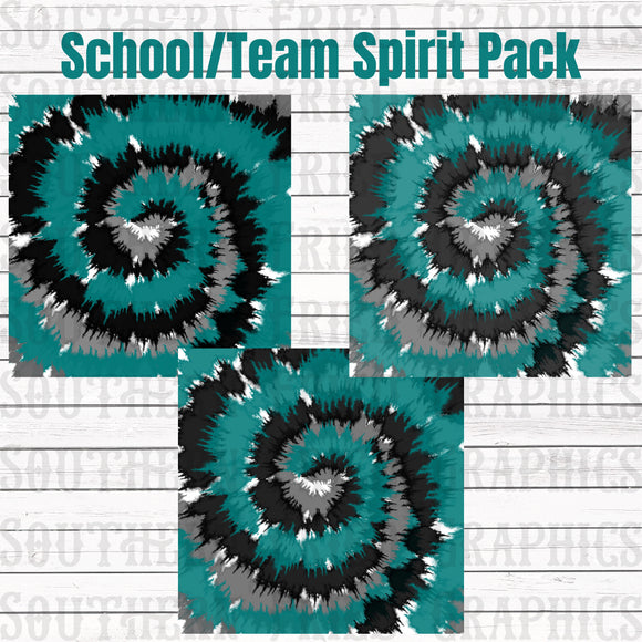 School/Team Turquoise/Black Tie Dye Pattern Digital Graphic Bundle