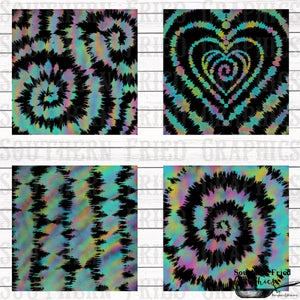 Watercolor and Black Tie Dye Pattern Digital Graphic Bundle