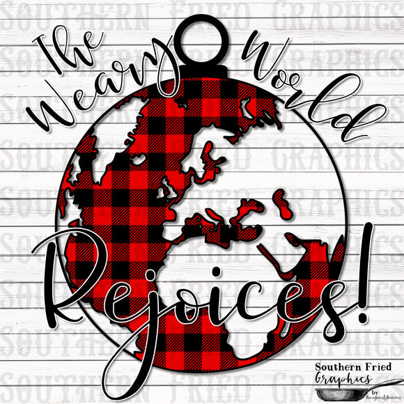 The Weary World Rejoices Red Plaid Digital Graphic