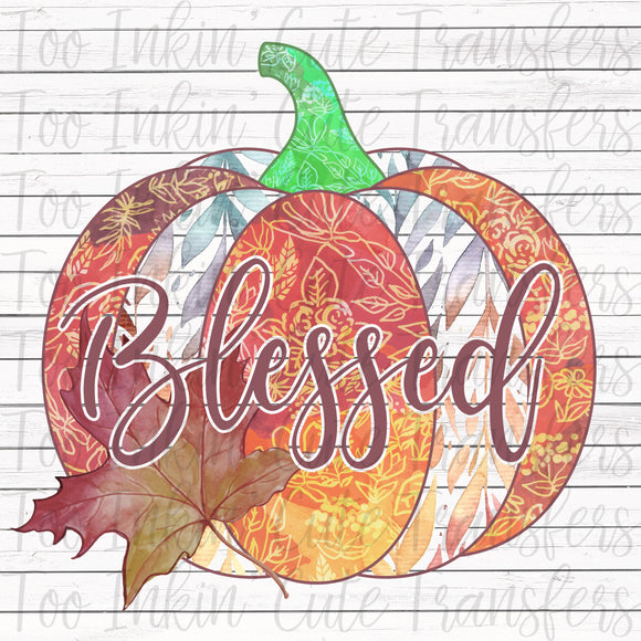 Blessed Fall Watercolor Pumpkin Transfer