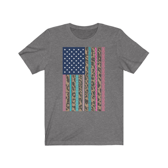 Multi Color Leopard Lace American Flag Short Sleeve Tee
