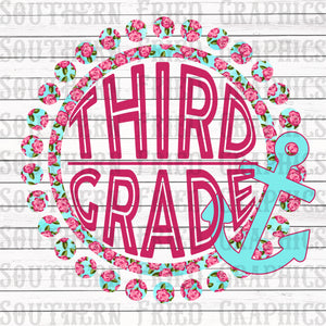 Anchor Floral Third Grade Digital Graphic
