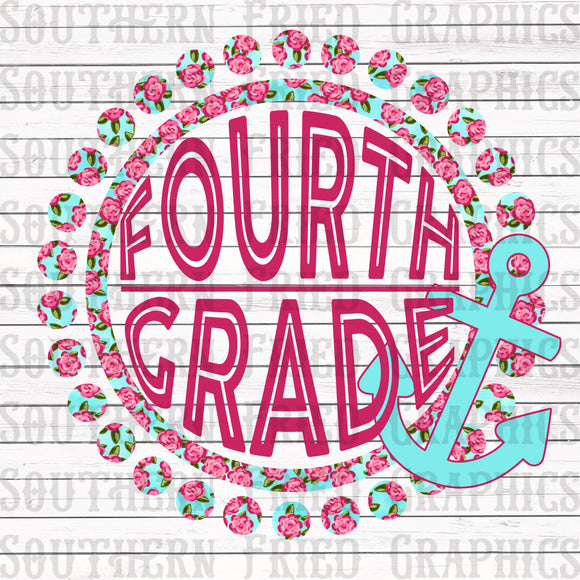 Anchor Floral Fourth Grade Digital Graphic