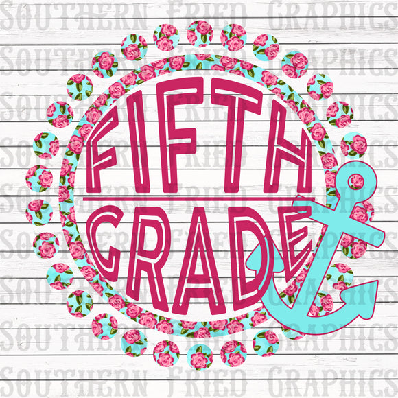 Anchor Floral Fifth Grade Digital Graphic