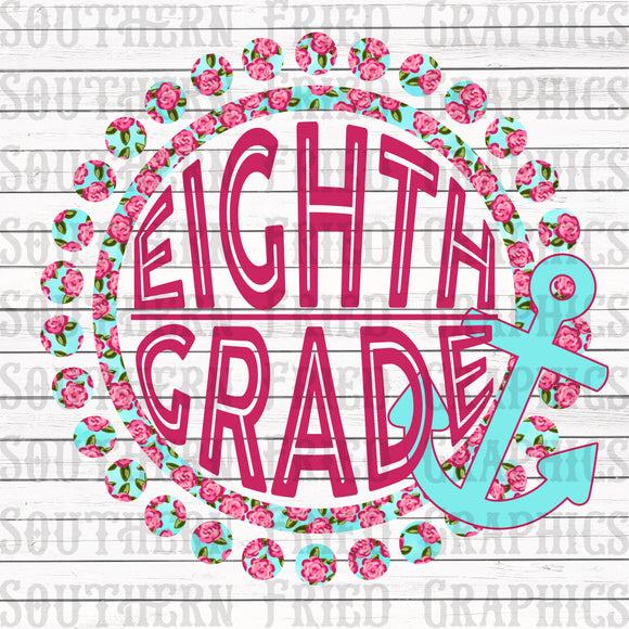 Anchor Floral Eighth Grade Digital Graphic