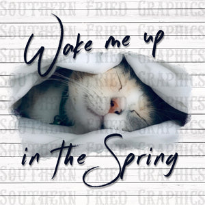 Wake Me Up in the Spring Cat Digital Graphic