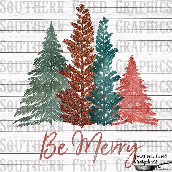 Be Merry Trees Screen Print Transfer RTS