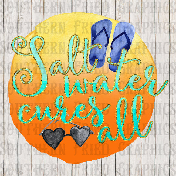 Salt Water Cures All Glitter & Watercolor Digital Graphic