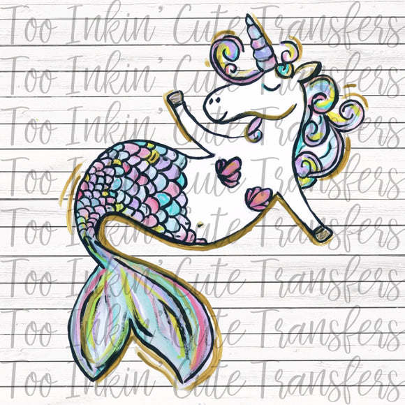 Watercolor Unicorn Mermaid Transfer