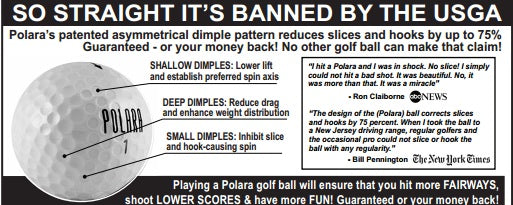 Golf Ball Eliminates Slicing - Banned By USGA for Tournament Play
