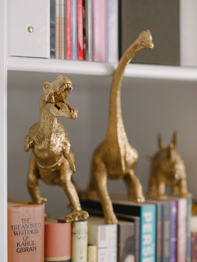 The finely detailed statue will be a prehistoric delight on your desk or mantel and seems even a bit more museum-like than our golden dinosaur figurines. Enjoy!
