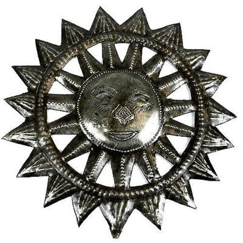8-inch Haitian Steel Drum Sun Face Wall Art Handmade and Fair Trade