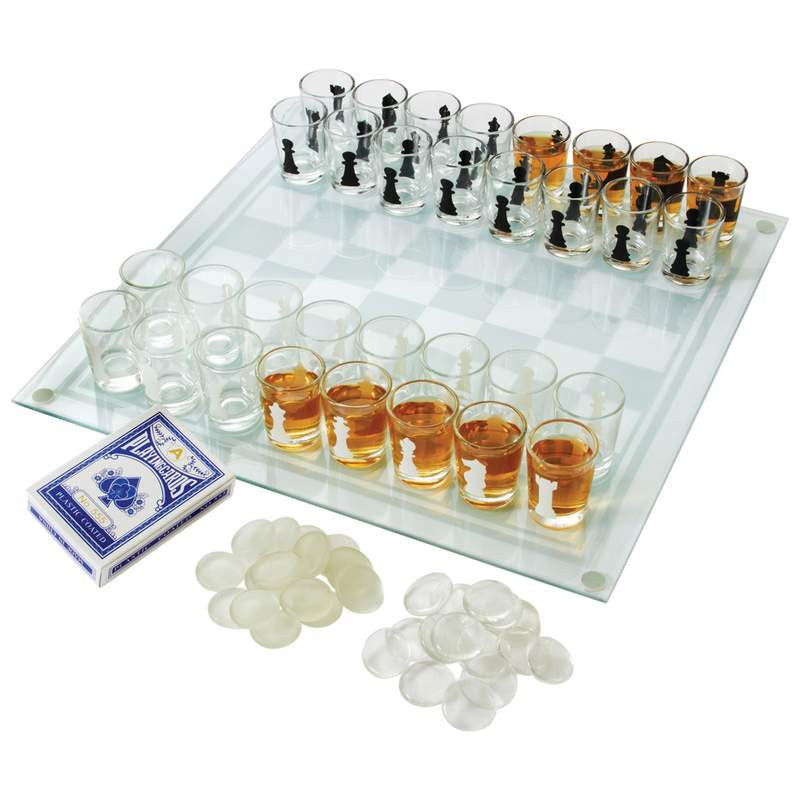 3-in-1 Shot Glass Chess Set