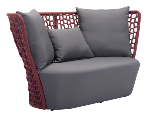 Faye Bay Beach Sofa Cranberry & Gray