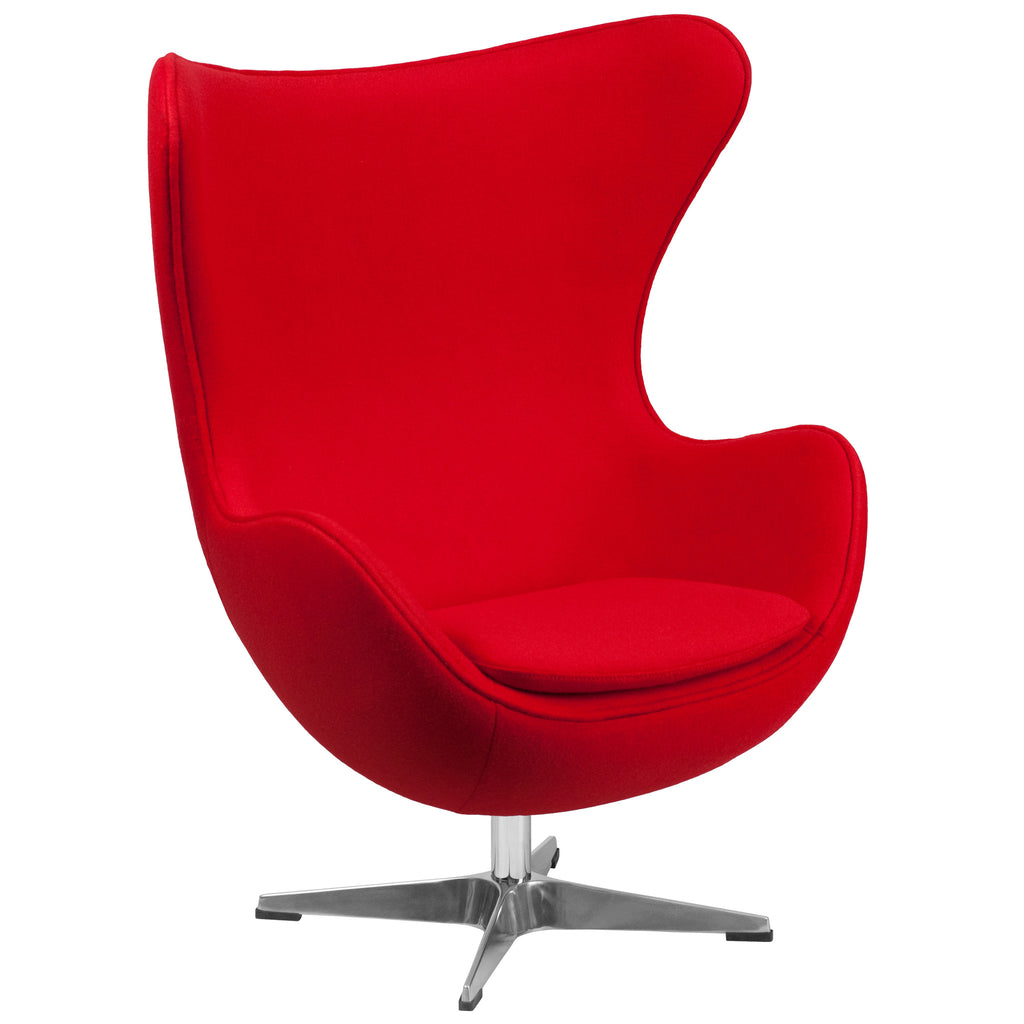 Red Wool Fabric Egg Chair with Tilt-Lock Mechanism