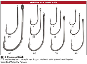 """25  SIZE DAIICHI SALTWATER  # 2546  FLY TYING HOOKS /"""" STAINLESS STEEL /"""" QTY 4"""