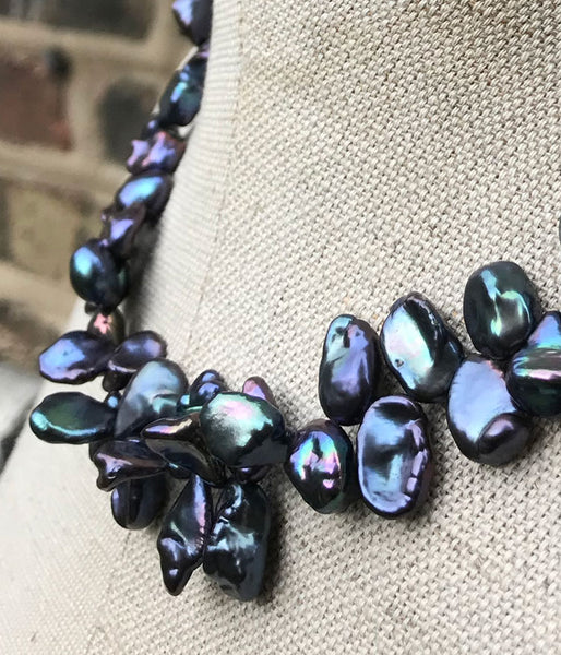 Peacock Keishi Pearl Necklace