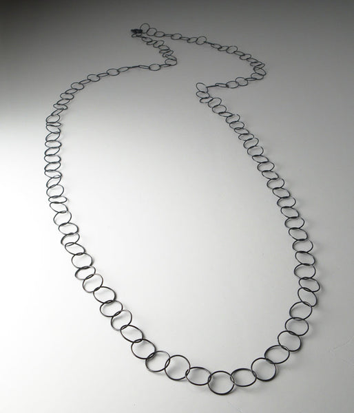 "40"" Fine Circles (oxidized sterling silver)"