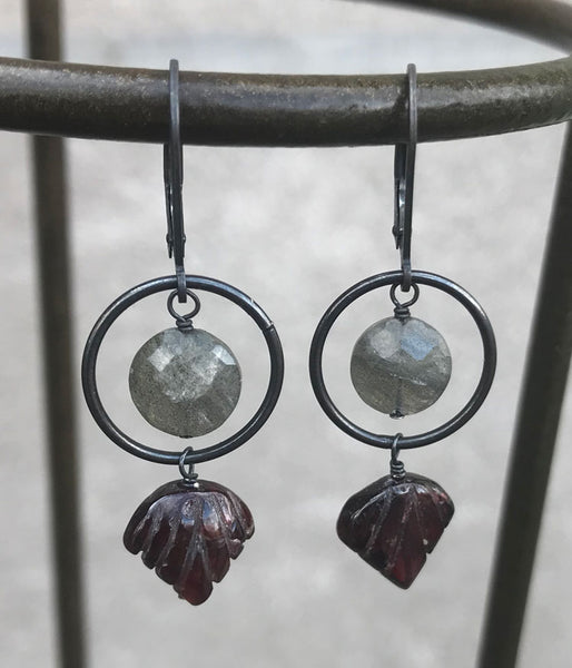 Carved Garnet and Labradorite Earrings