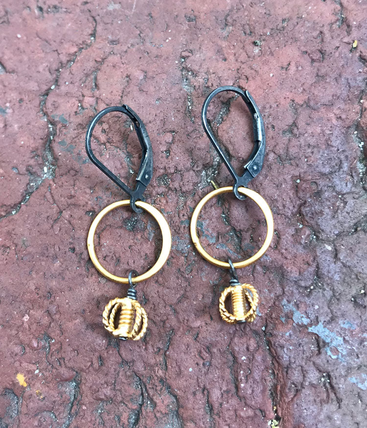 Mixed Metal Circle & Braided Earrings