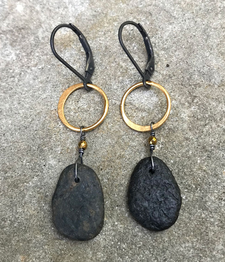 Mixed Metal Zen Earrings