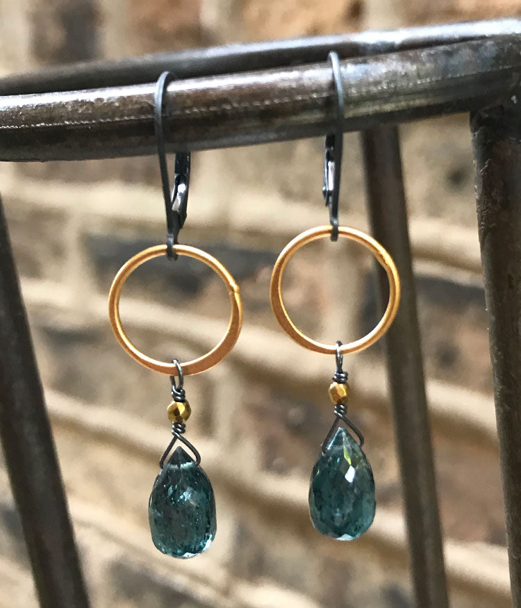 Large Kyanite Circle Earrings