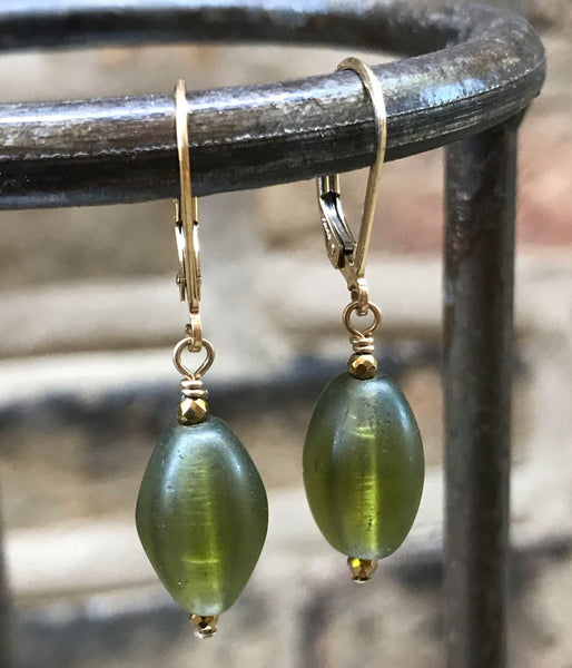 Olive Green Vintage Glass Earrings