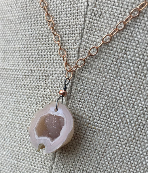 Rose Gold Geode Necklace