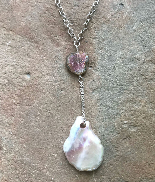 Glowing Tourmaline and Pearl Necklace