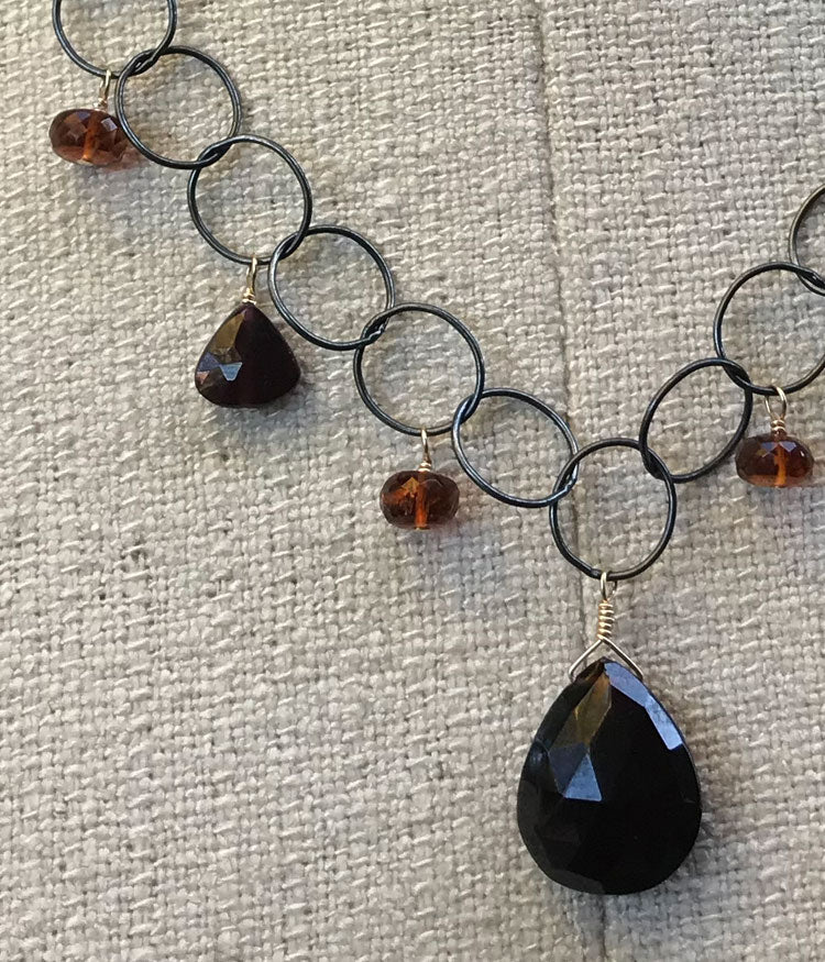 Large Link Garnet and Citrine Necklace