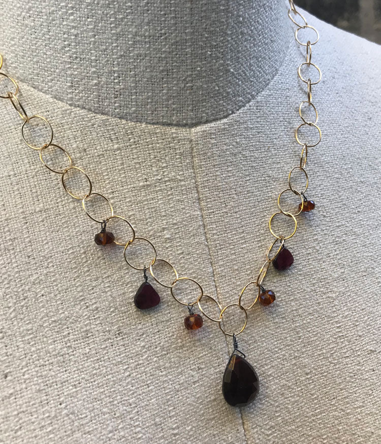Large Link Garnet & Gold Fill Necklace