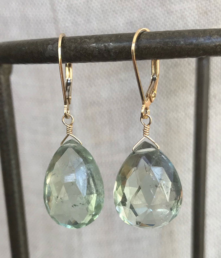Simple Green Amethyst Earrings