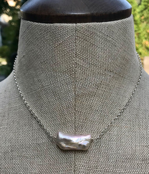 Baroque Pearl Bar Necklace
