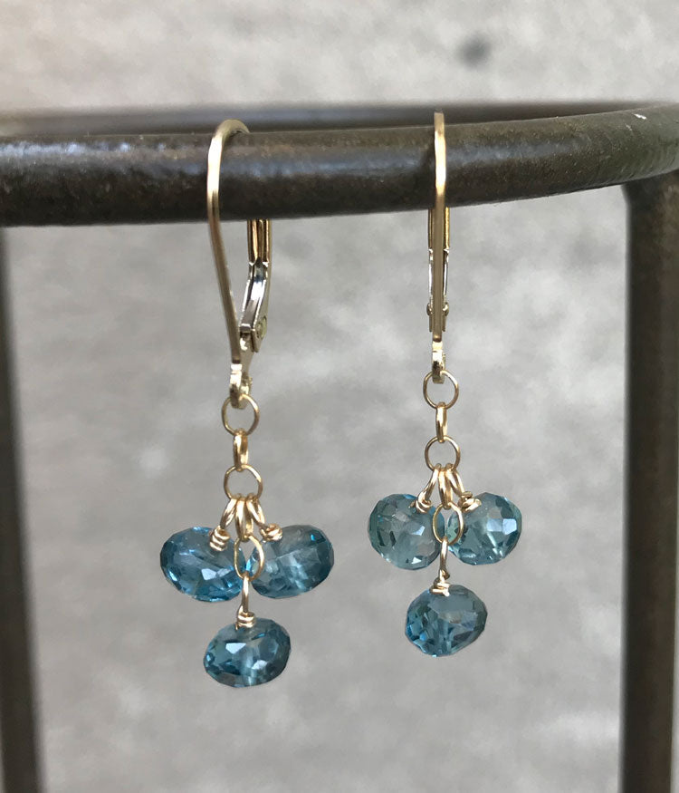 London Blue Topaz Cluster Earrings