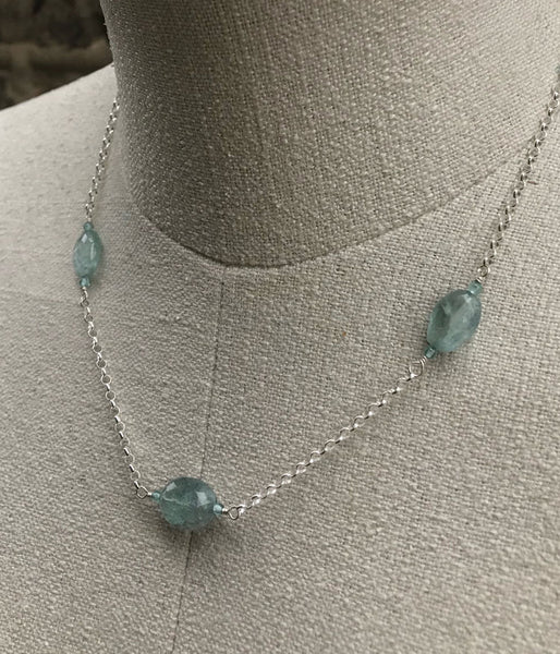 Triple Aquamarine Necklace