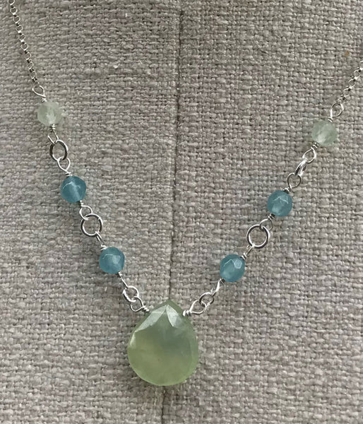 Prehnite and Quartz Necklace