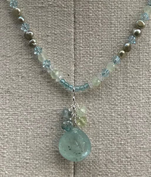 Beaded Aquamarine Cluster Necklace