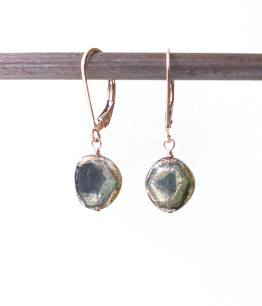 One of a Kind Earthy Tourmaline Slice Earrings