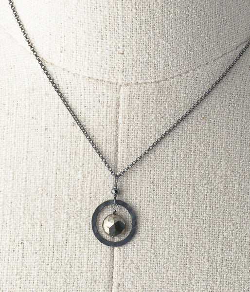 Pyrite, oxidized sterling silver.   