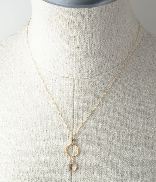 Champagne Quartz Circle Necklace