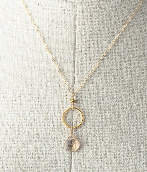 Champagne quartz, vermeil, gold-fill.   Necklace, 18""