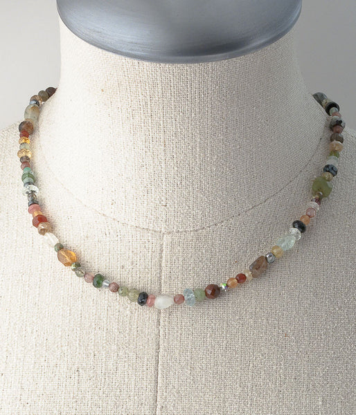 Each necklace will be unique with a variety of gemstones strung on cording which makes this necklace very soft in shape.   