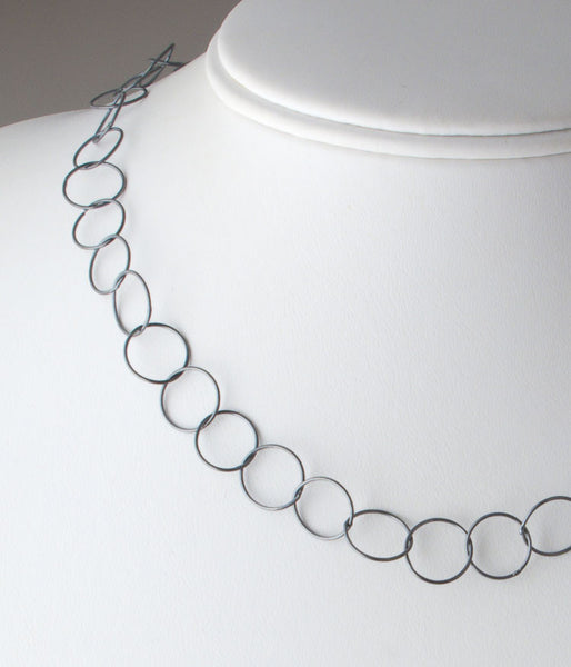 "20"" Fine Circles (oxidized sterling silver)"