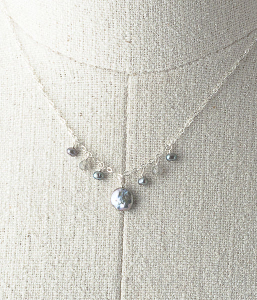 Freshwater pearl, labradorite, sterling silver.  A simple stand alone elegant necklace or one to layer!    Necklace, 18""
