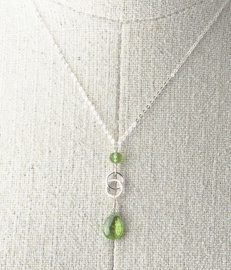 "Peridot, sterling silver.   Necklace 16"" or 18"""