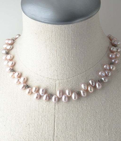 Freshwater pearl, Balinese sterling, sterling silver.  Necklace (adjustable), 18-20""